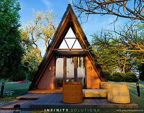 3D model Glamping MOD frame house for nature camping 1