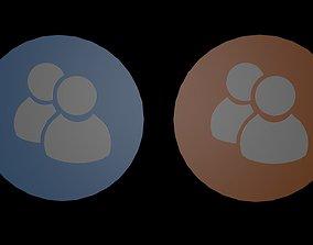3D asset Low poly family symbols