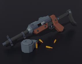 3D asset Post apocalyptic self-made sub-machinegun Low 1