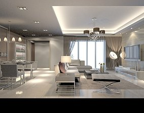 3D Modern Drawing Room With Dining Area - 06