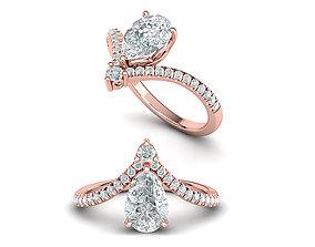3D printable model Pearl Chevron Engagement ring Own 5