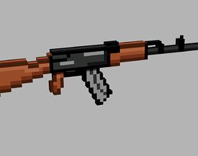 3D model AK-74 pixel weapons
