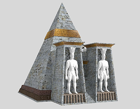 Fantasy Pyramid And Male Statues 3D