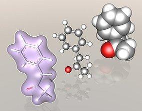 Phenylacetone molecule 3D model