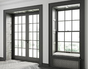 Double-Hung Window with Balcony Door 3D
