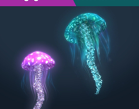 3D Fantasy Jellyfish Rigged Animated