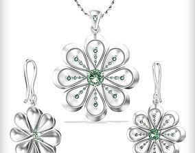 3D printable model flower pendant and earrings