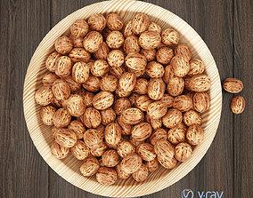 Wallnuts in wooden bowl 3D model