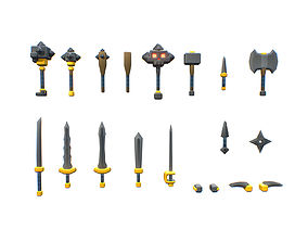 Basic Weapon Set - Smashy Craft Series 3D asset