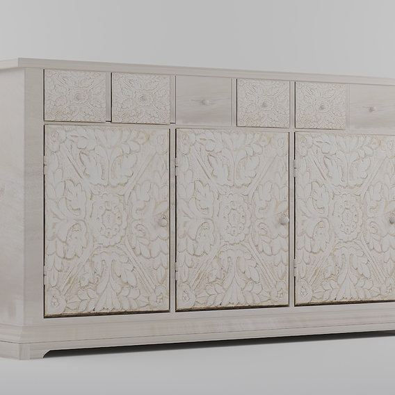 Sideboard in mango wood whit three decorated doors