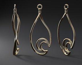 Waterdrop-moon earring 3D print model