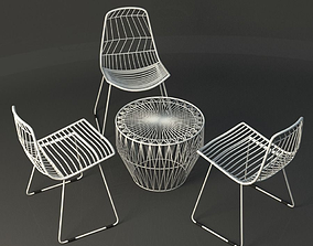 3D White Wire table and Chair