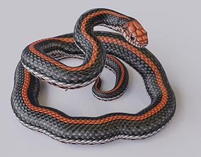 3D model game-ready Rigged Black Orange Snake Rigged