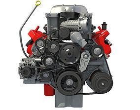3D model 2018 Dodge Challenger HEMI Demon Engine