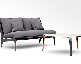 Gabriel Scott Boudoir Loveseat and Bardot Coffee table 3D