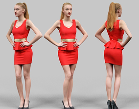 Woman in Red Dress Golden Belt and heels Posing 1 3D model