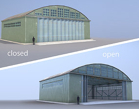 3D model Airport Hangar SmallHangar 01 closed open