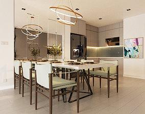 3D Kitchen Set modern warm tone table