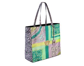 Versace Bag Mixed Print Tote Pink 3D model