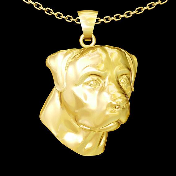 Dobermann Dog Pendant jewelry Gold 3D print model 3D print model