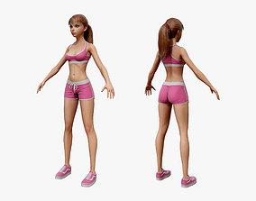 Cartoon Sport Girl 03 3D model