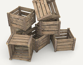 3D asset low-poly Wooden crate