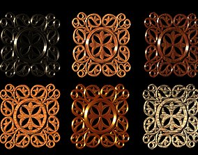 Decorative panel in material variants 3D model game-ready