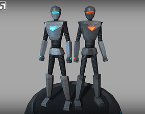 Low-poly Animated Droids 3D asset realtime