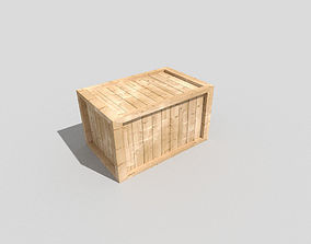 low poly wooden crate 3D asset
