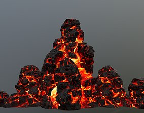 rocks 3D asset VR / AR ready fire