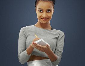 3D asset A Black African Waitress Woman Noting Down An 2