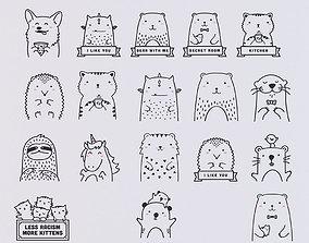 3D Set of stickers animals