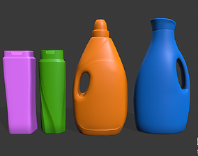 lowpoly household cleaning bottles 3D asset