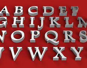 FOOTLIGHT font uppercase and lowercase 3D Letters STL
