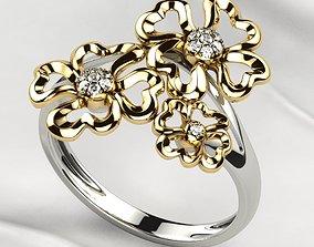 3D printable model Sweet Flowers Gold Ring