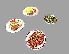 3D asset 4 low poly meals pack 1