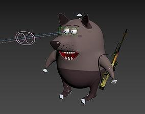Cartoon wolf 3D asset