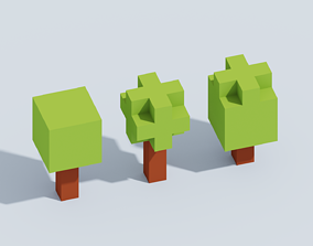 Voxel Tiny Forest Pack 3D asset