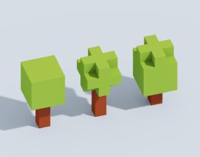 Voxel Tiny Forest Pack 3D model