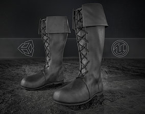 Black Medieval Boots 3D model game-ready