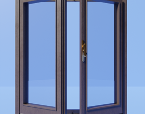 3D asset Classic wooden window with frames