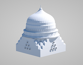 3D model turkish islamic Mosque Green Dome