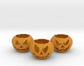 3D print model 3 Jack o lantern Tealight Holders
