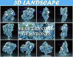 Low Poly Blue Crystal Gemstone Pack 200112 3D asset