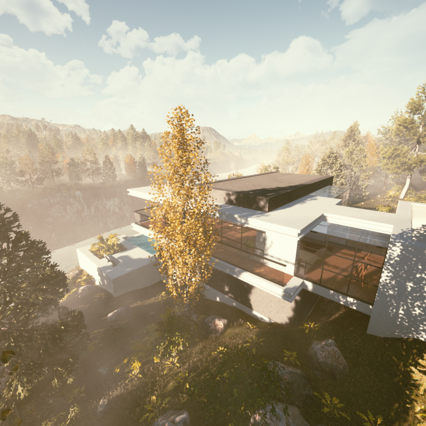 Modern house in the mountain forest