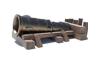 Medieval stone cannon supergun Faule Mette 3D asset