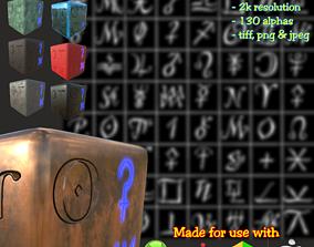 3D Astrology symbols set Height map Alpha Brushes decals