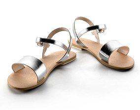 Flight Wide Fit Leather Sandals 3D model