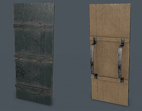 3D model Post-Apocalypse Wooden Shield with Barbed Wire