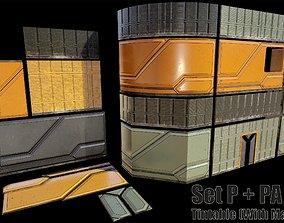 sci fi walls modular kit - set P Low-poly 3D realtime
